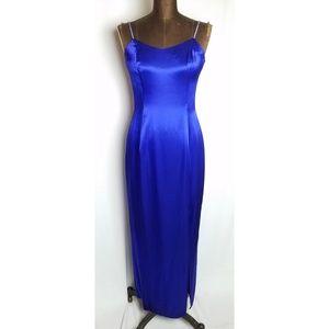 Vintage 80s blue satin gown rhinestone straps 4/6